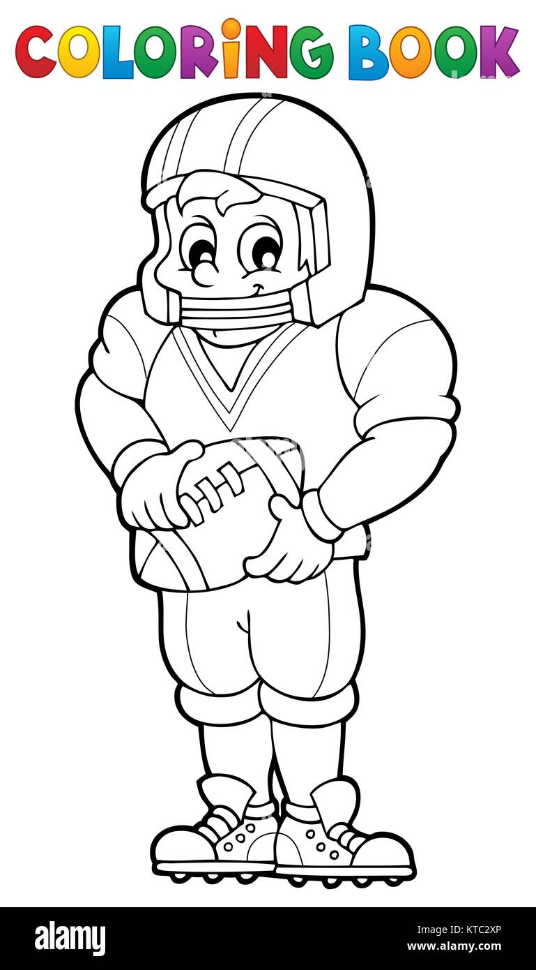 Coloring book American football player - Stock Image