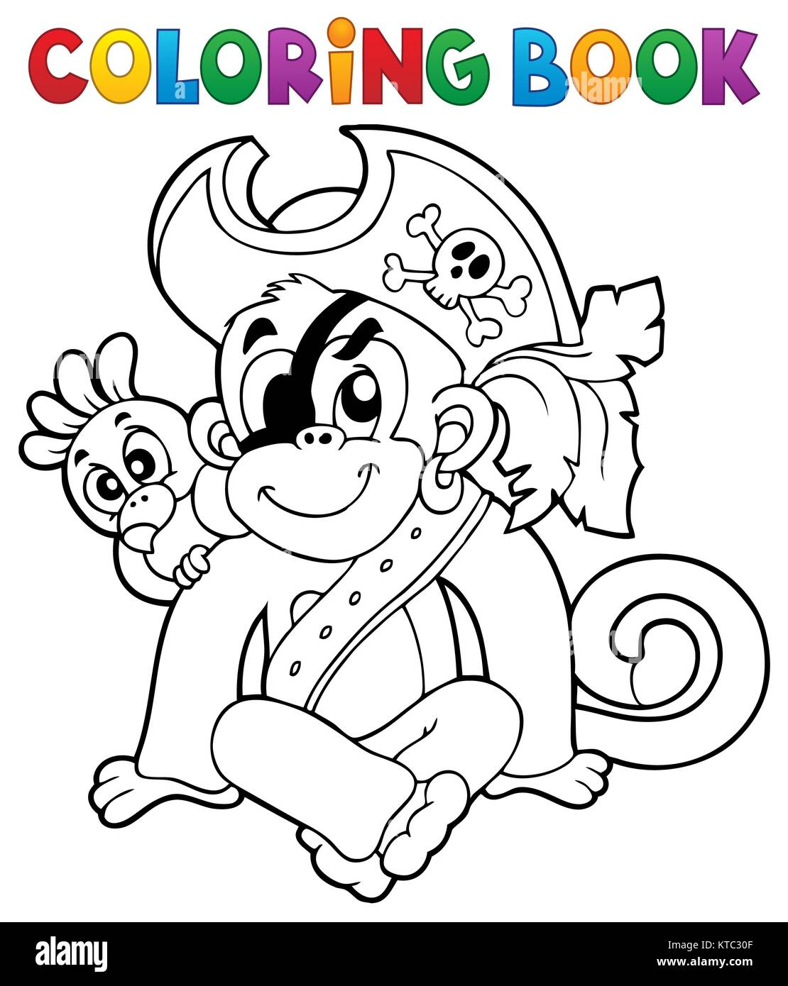 Coloring book pirate monkey image 1 - Stock Image