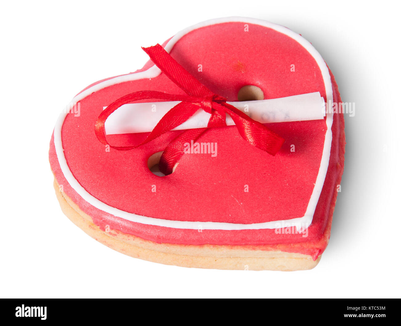 Cookies heart with note - Stock Image