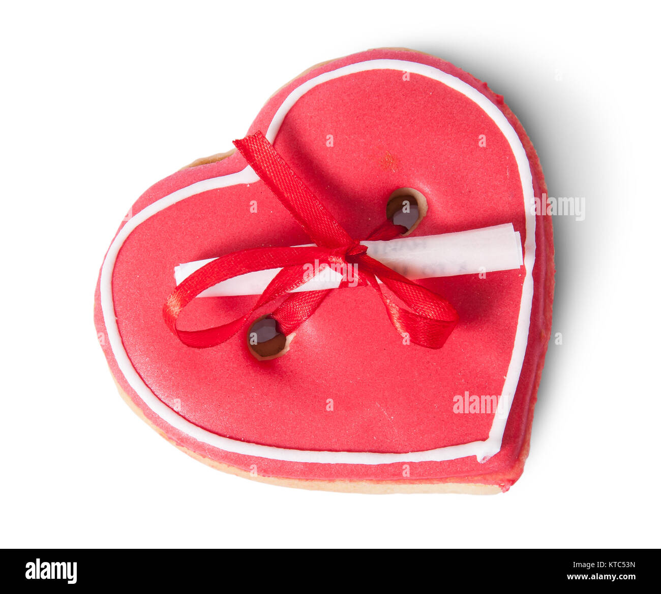 Cookies heart with note on top - Stock Image