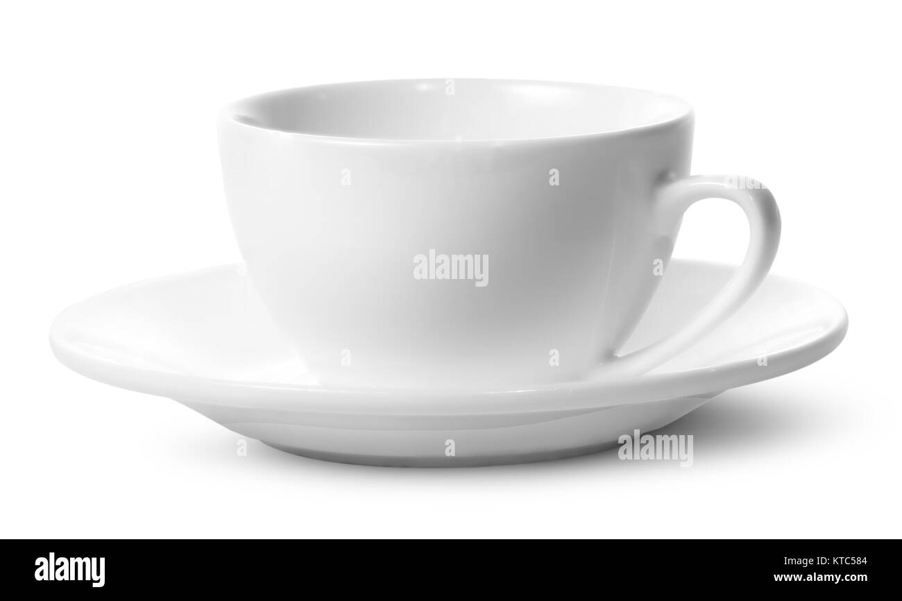 Empty coffee cup on a saucer - Stock Image