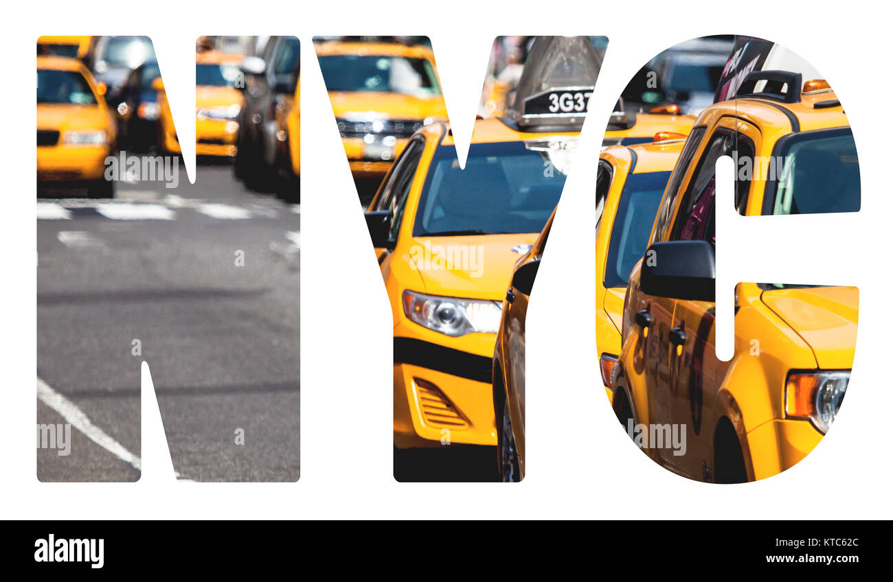 Yellow cab speeds through Times Square in New York, NY, USA. - Stock Image