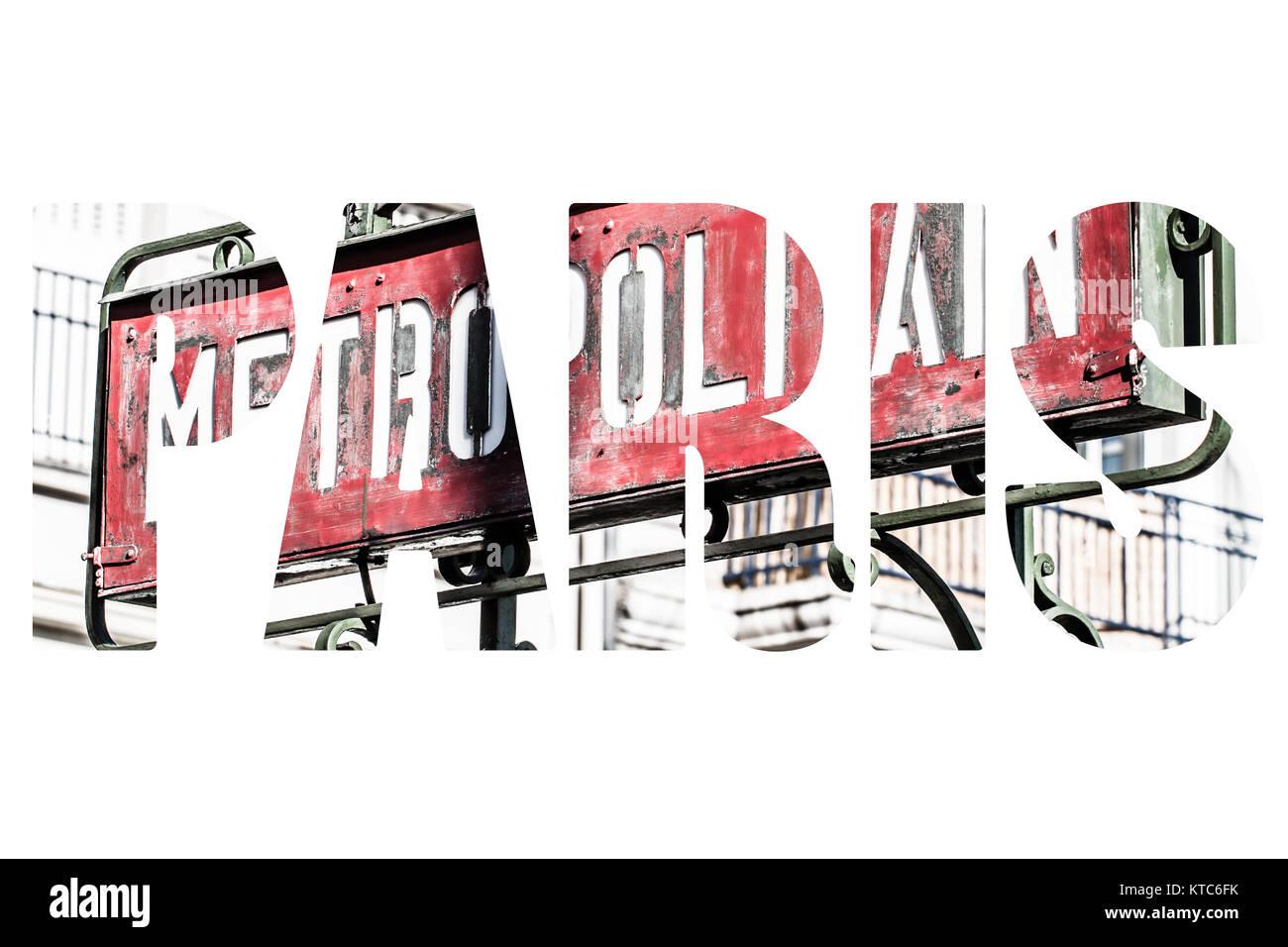 Paris Metro Metropolitain Sign - Stock Image