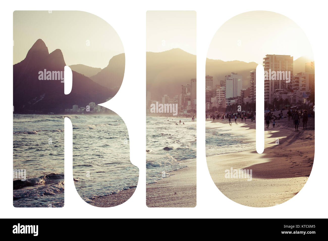 Word RIO. View of Ipanema Beach in the evening, Brazil - Stock Image