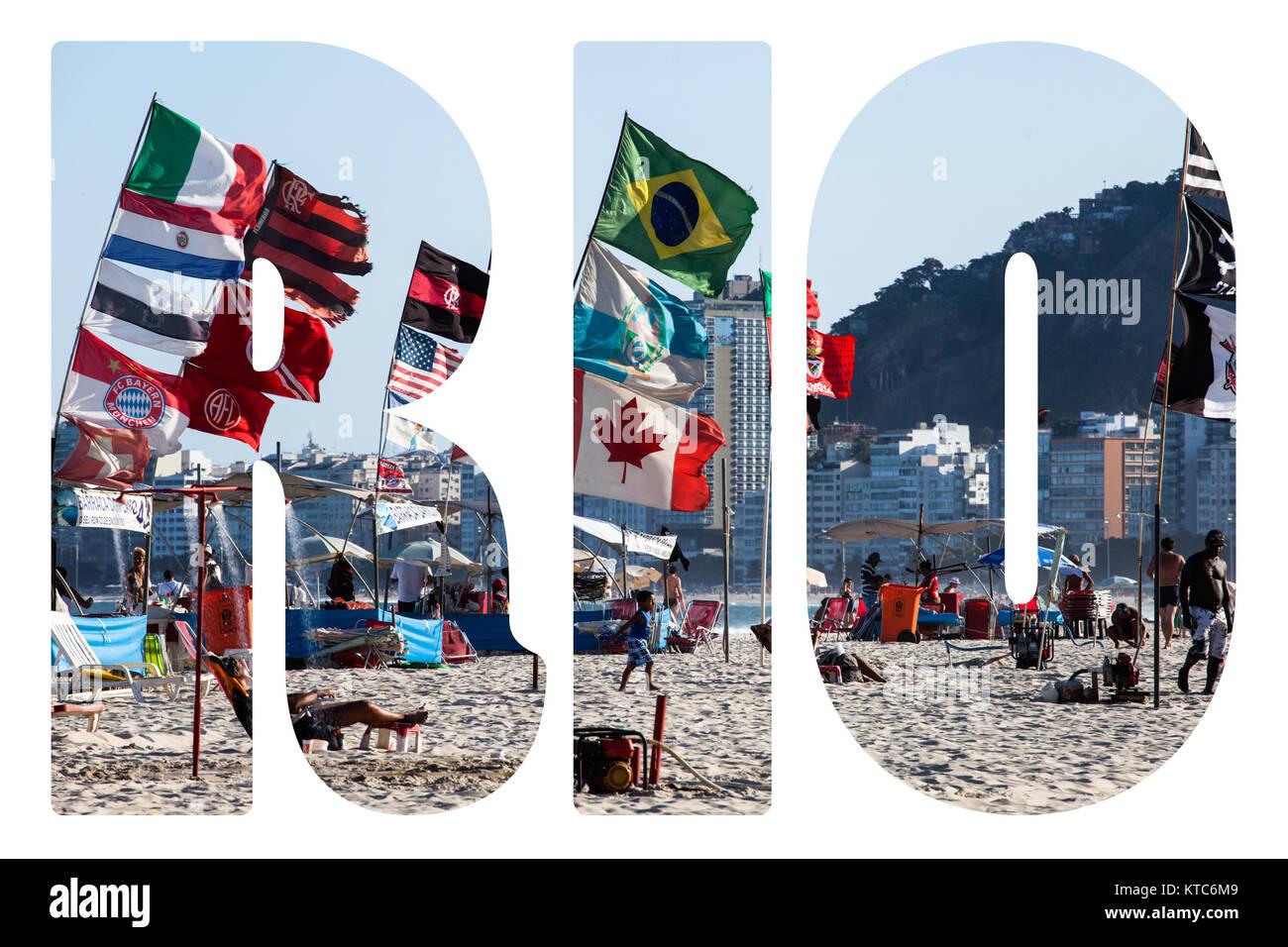 Word RIO. Copacabana Beach in Rio de Janeiro, Brazil - Stock Image