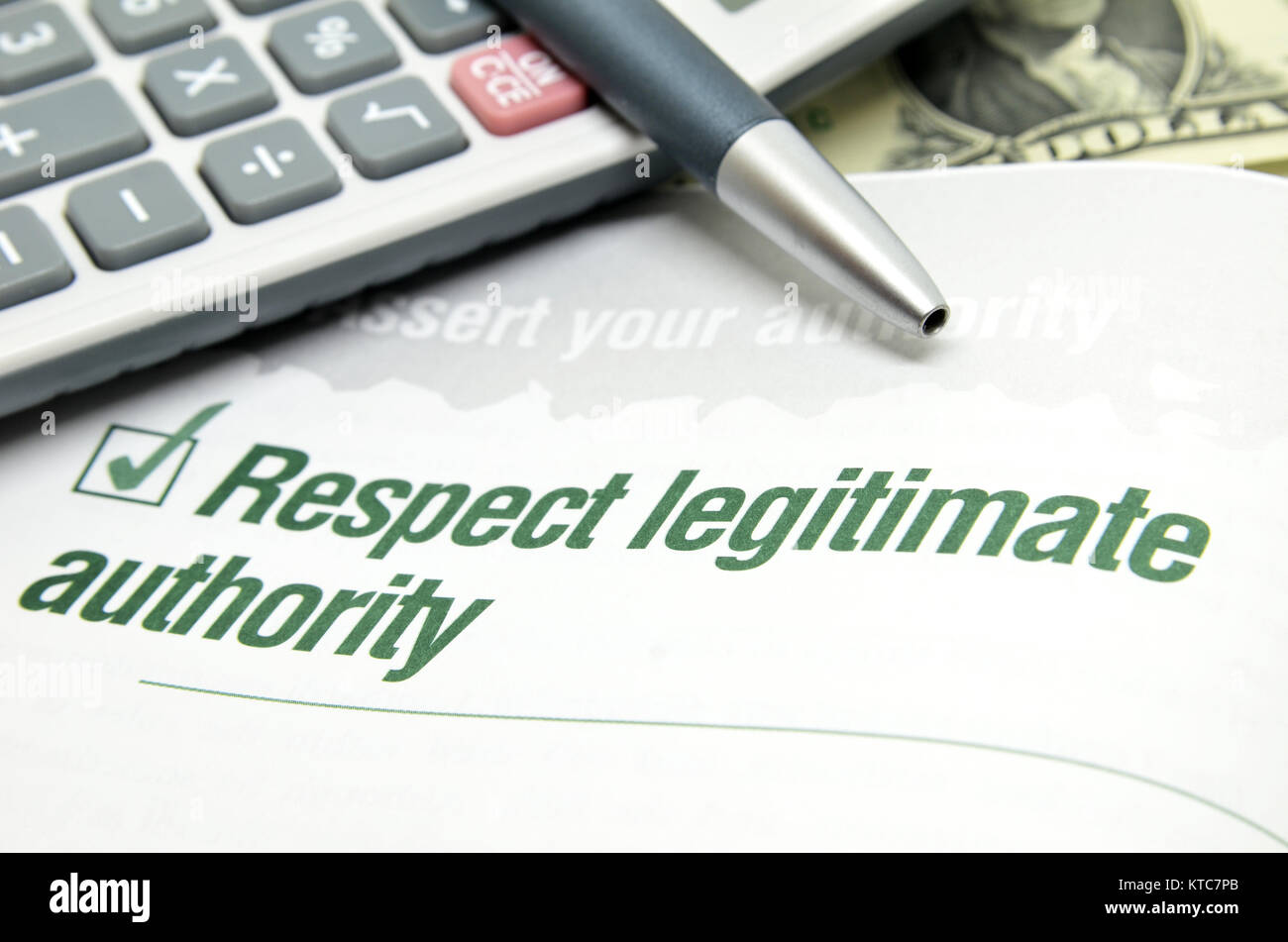 Respect legitimate authority - Stock Image