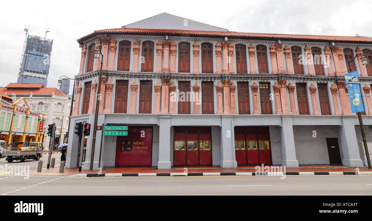 Singapore - Dec 14, 2015  Old buildings located in Chinatown