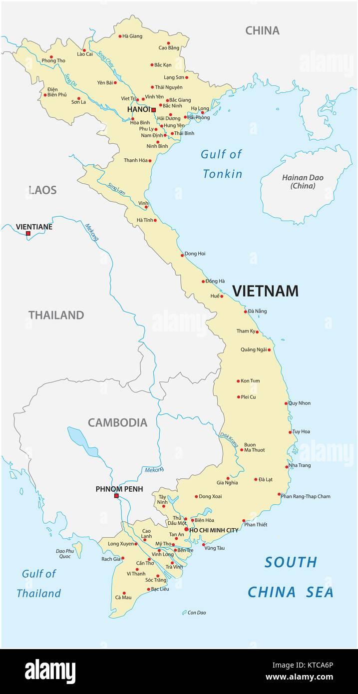 The vietnam vector map - Stock Image