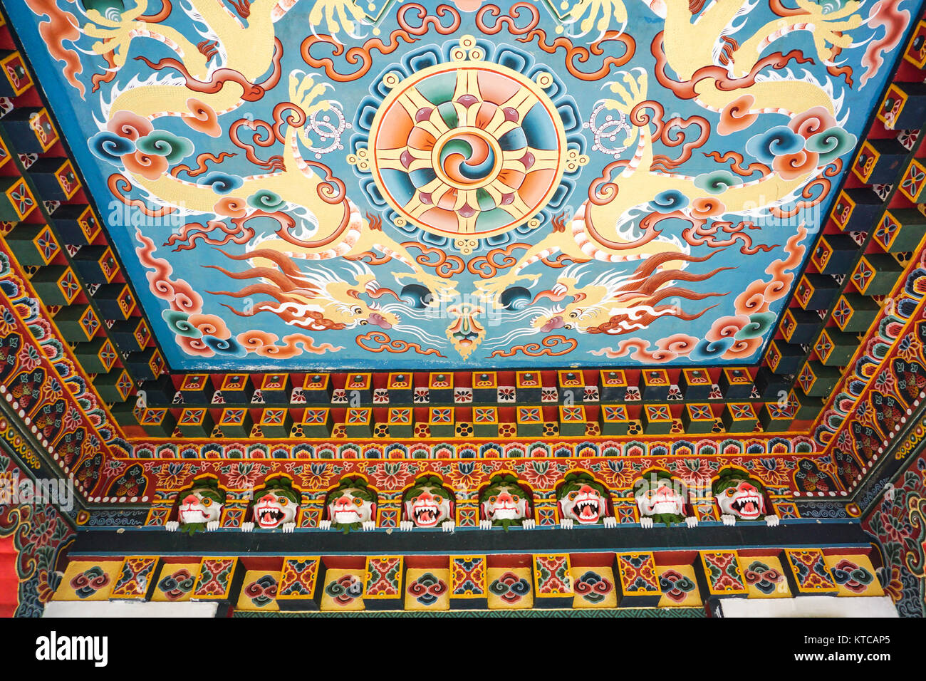 Inside of the traditional Bhutanese Buddhist temple in Bodhgaya, India. Bodh Gaya is the most revered of all Buddhist - Stock Image