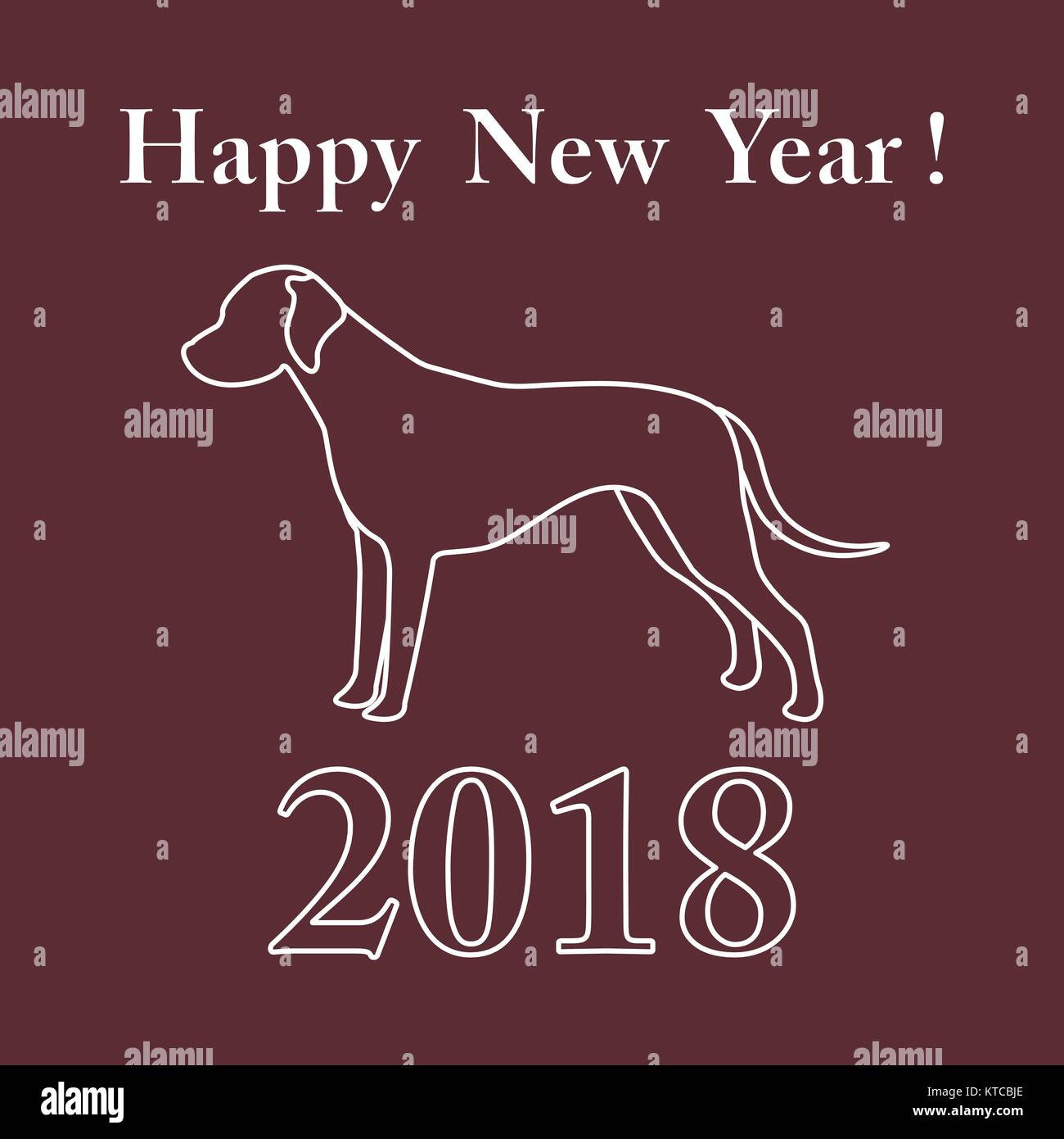 Dalmatian silhouette and inscription happy new year. Design element for postcard, banner, poster or print. Stock Vector