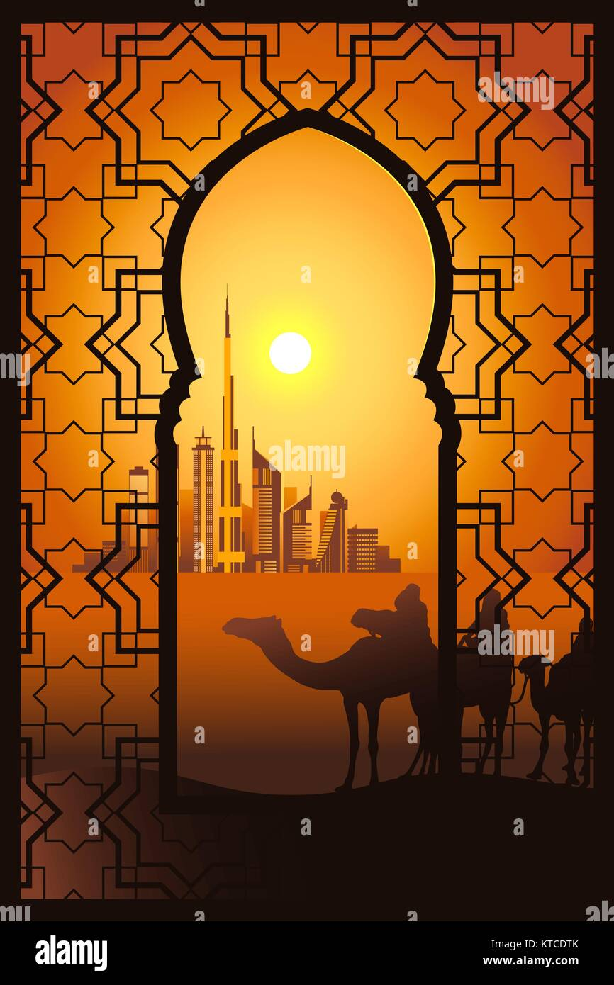 Three camel riders at the sunset in the desert on the Dubai city vector illustration. View through traditional arabesque - Stock Vector