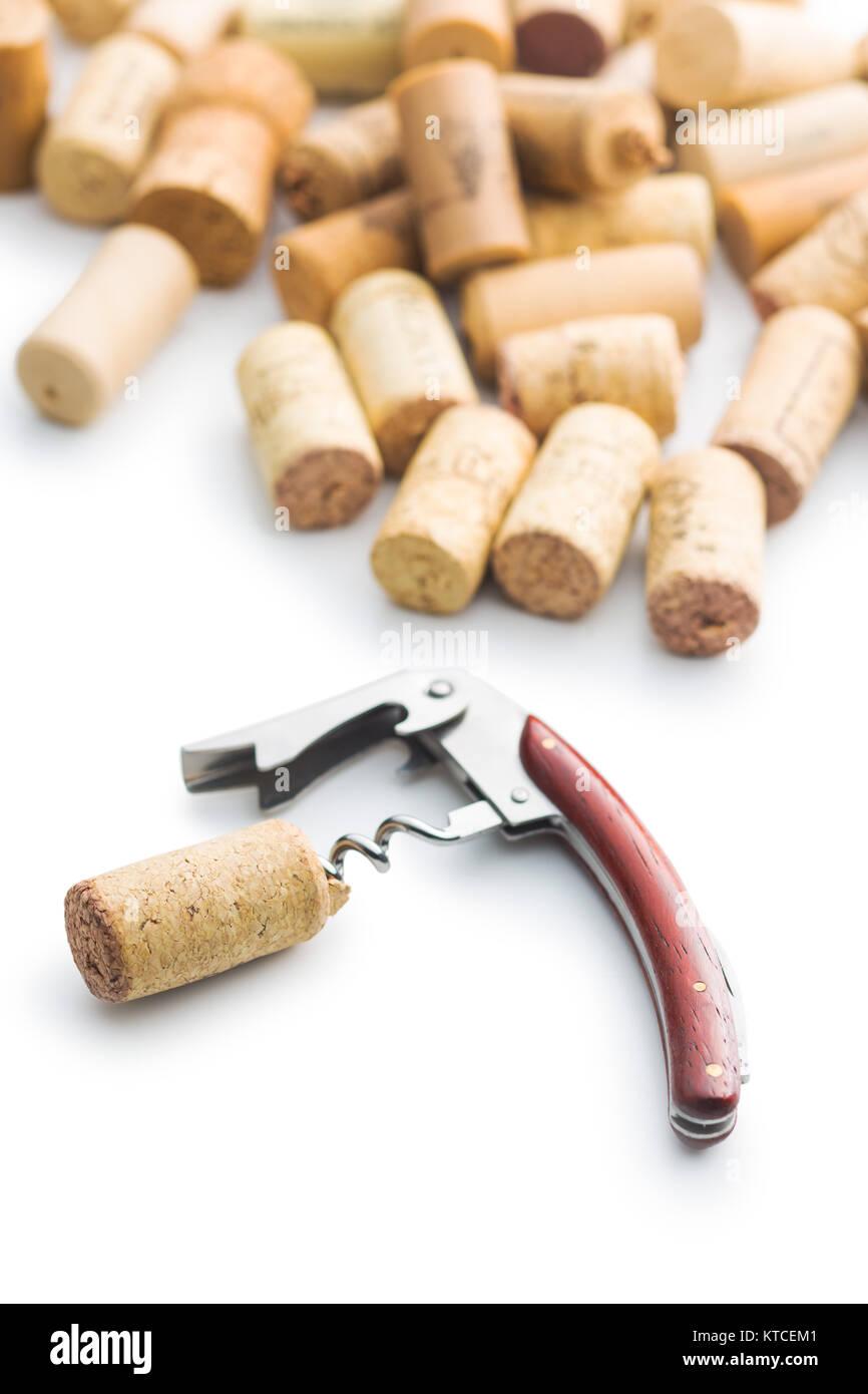 Corks and corkscrew. Stock Photo