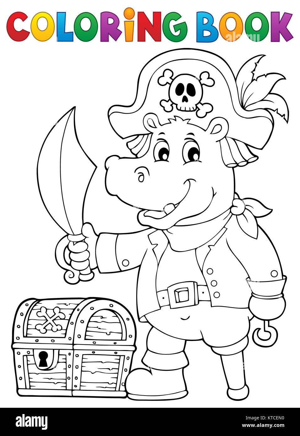 Coloring book pirate hippo image 1 - Stock Image