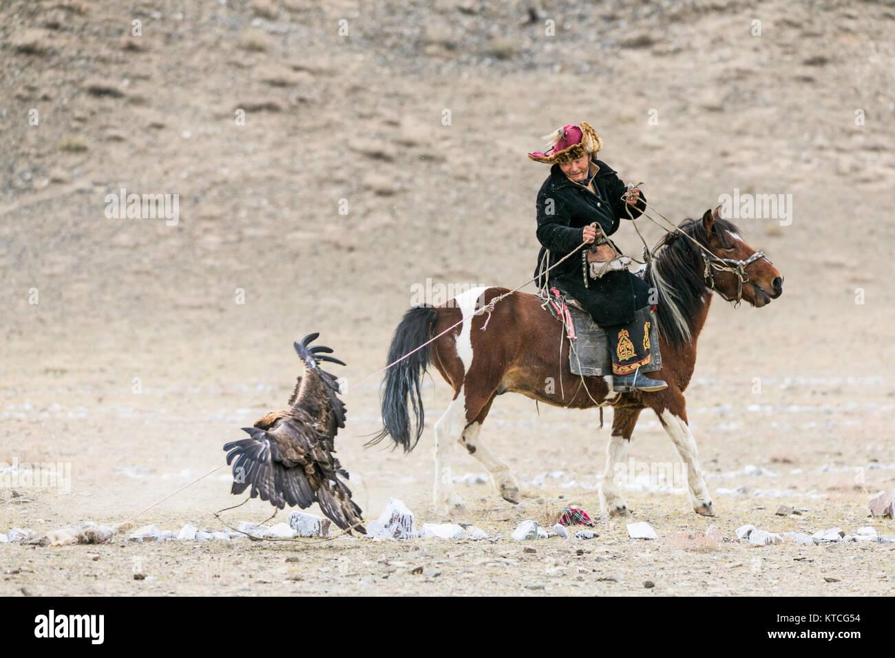 Kazakh eagle hunter on horseback competing at the Golden Eagle Festival in Mongolia - Stock Image
