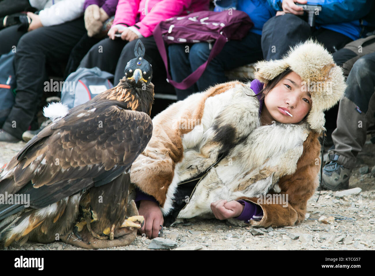 Young eagle huntress eats a lollipop while she waits her turn at the Golden Eagle Festival in Mongolia - Stock Image