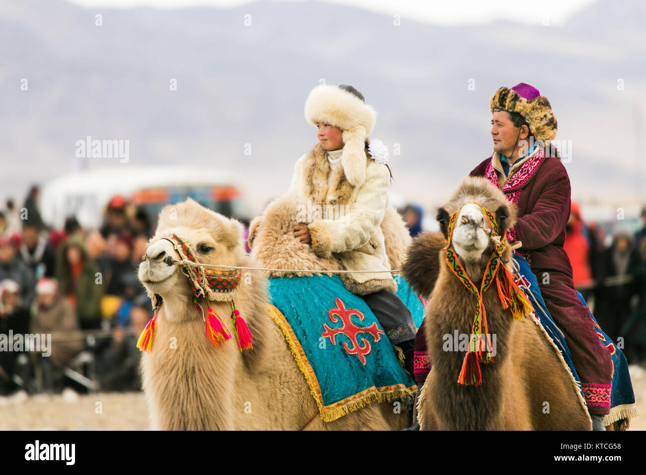 Aisholpan the Eagle Huntress and another camel rider at the Golden Eagle Festival in Mongolia - Stock Image
