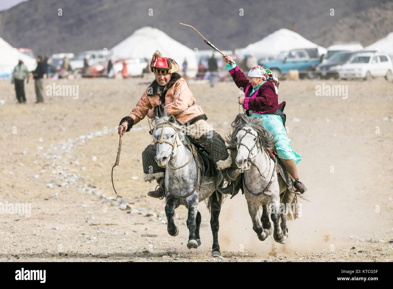 Traditional Kazakh equestrian sport and courting game - Stock Image