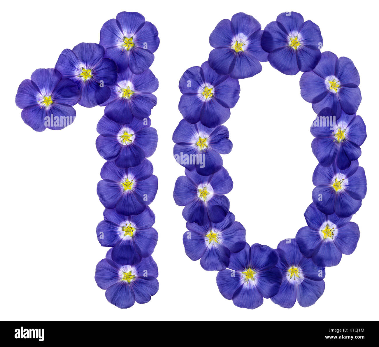 Arabic numeral 10, ten, from blue flowers of flax, isolated on white background Stock Photo