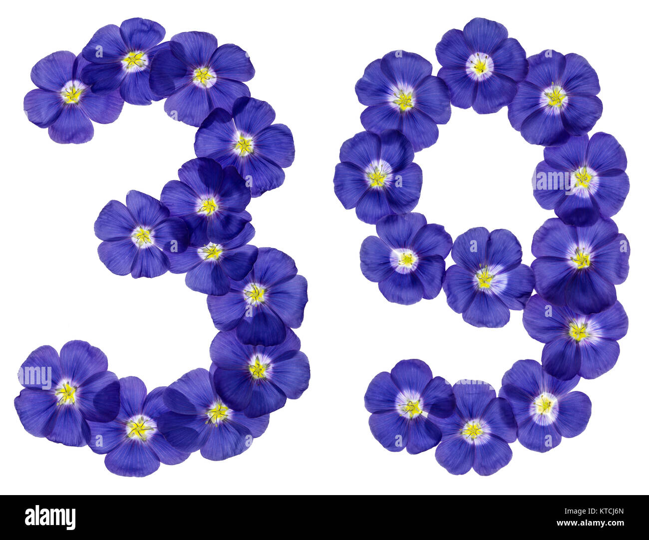 Arabic numeral 39, thirty nine, from blue flowers of flax, isolated on white background Stock Photo
