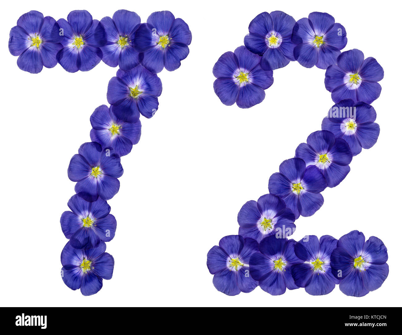Arabic numeral 72, seventy two, from blue flowers of flax, isolated on white background Stock Photo