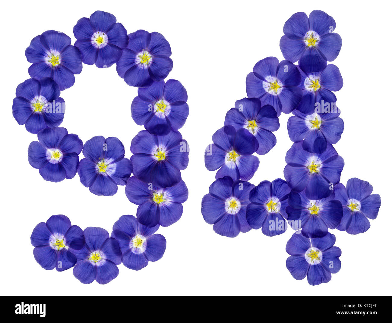 Arabic numeral 94, ninety four, from blue flowers of flax, isolated on white background Stock Photo
