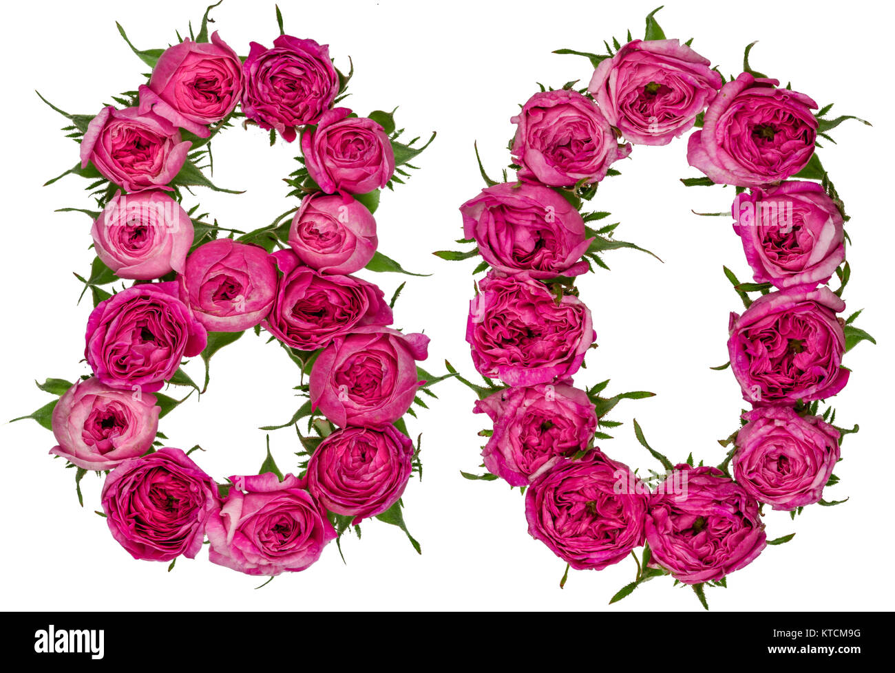 Fiori 80 Anni.Arabic Numeral 80 Eighty From Red Flowers Of Rose Isolated On