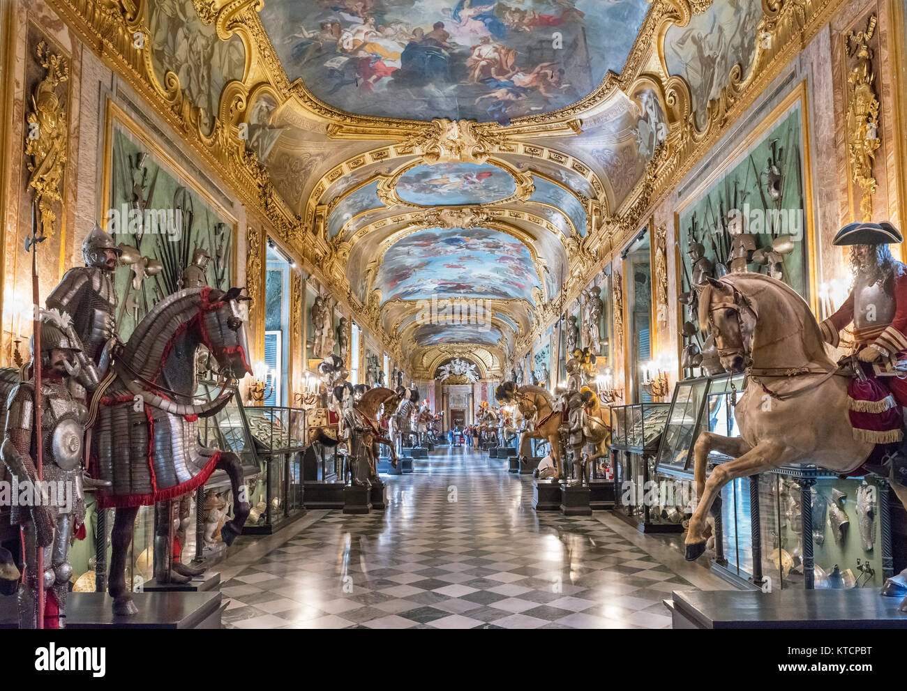 The Royal Armoury in the Beaumont Gallery, Palazzo Reale,Turin, Piedmont, Italy - Stock Image