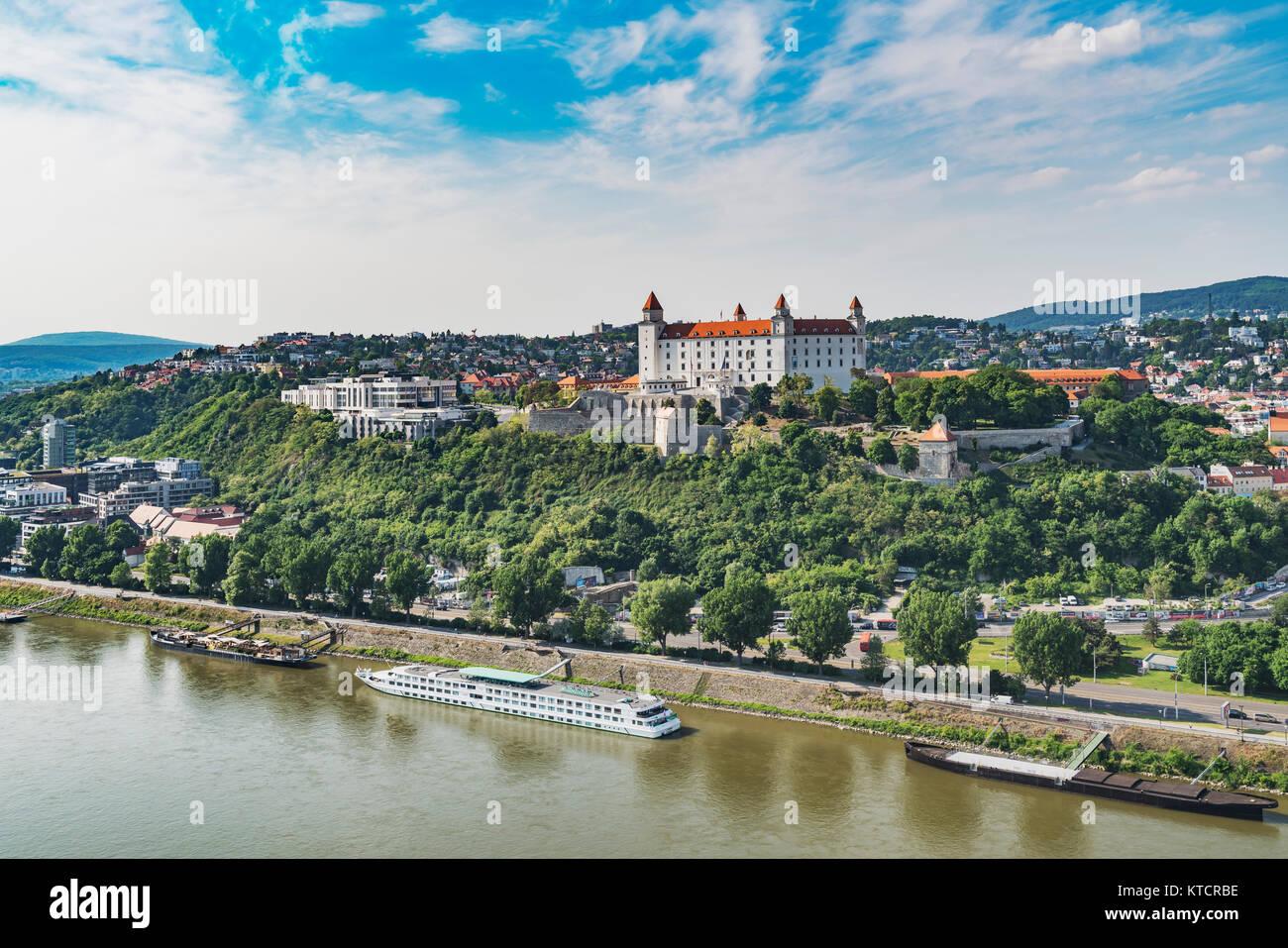 View over the river Danube to Bratislava Castle in Bratislava, capital of Slovakia in Europe - Stock Image