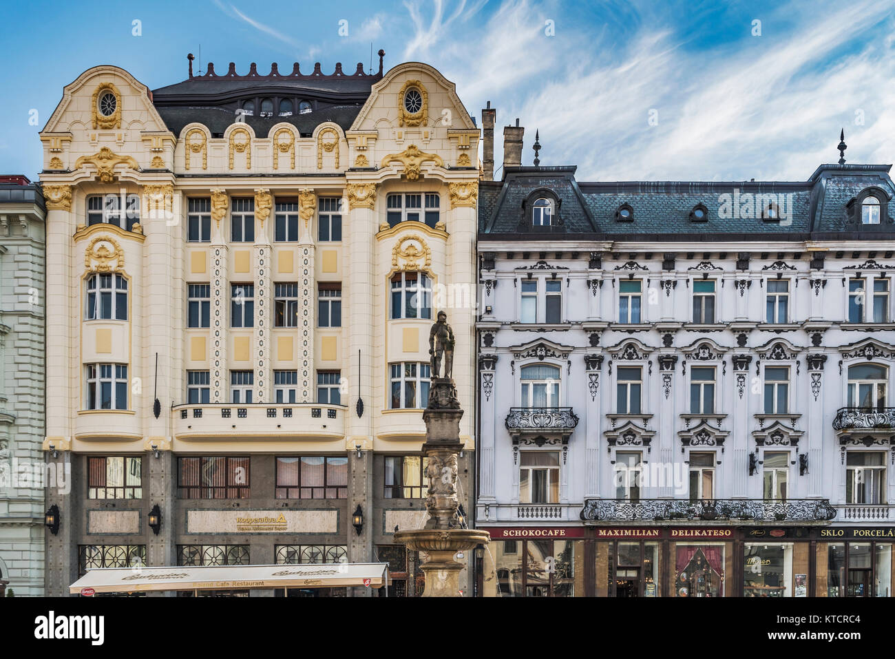 On the west side of the Main Square is the building for the Hungarian Eskontbank and Palais Palugyay, Bratislava, - Stock Image