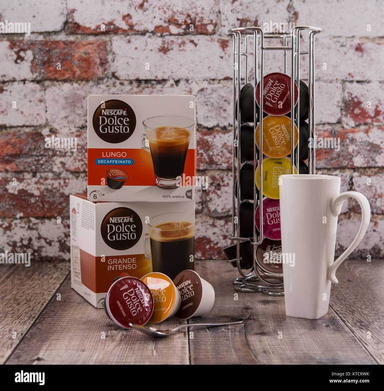 SWINDON, UK - DECEMBER 23, 2017: Nescafe Dolce Gusto Coffee Pod System in a rustic kitchen setting. - Stock Image