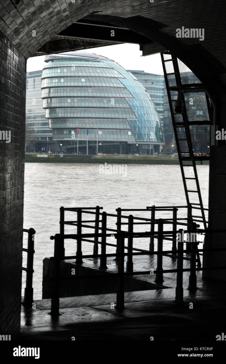 city hall in London the home of GLC or greater London council on the south bank of the river Thames viewed from - Stock Image