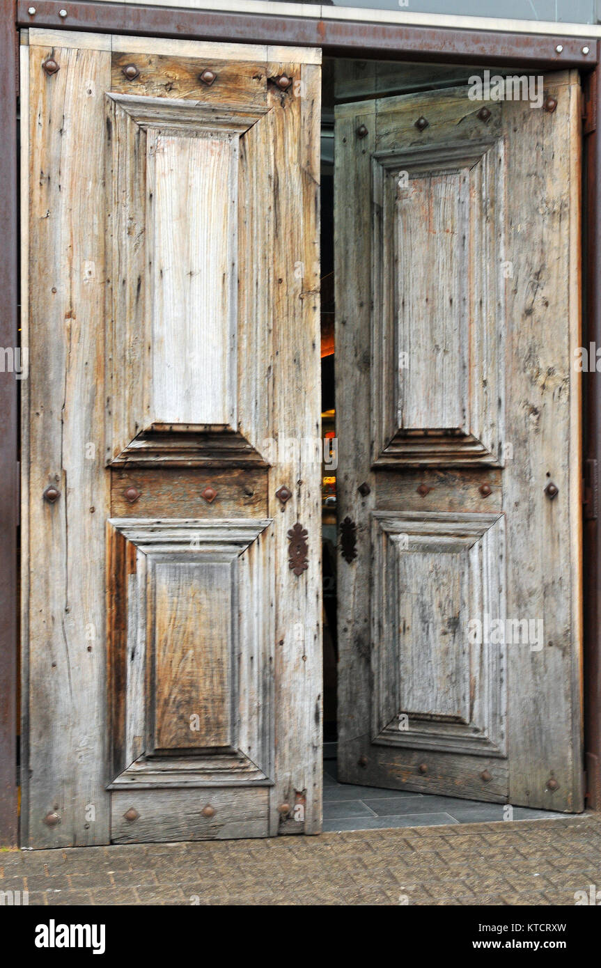 A Pair Of Rustic Or Shabby Chic Wooden Doors In A Distressed State And  Stripped Of