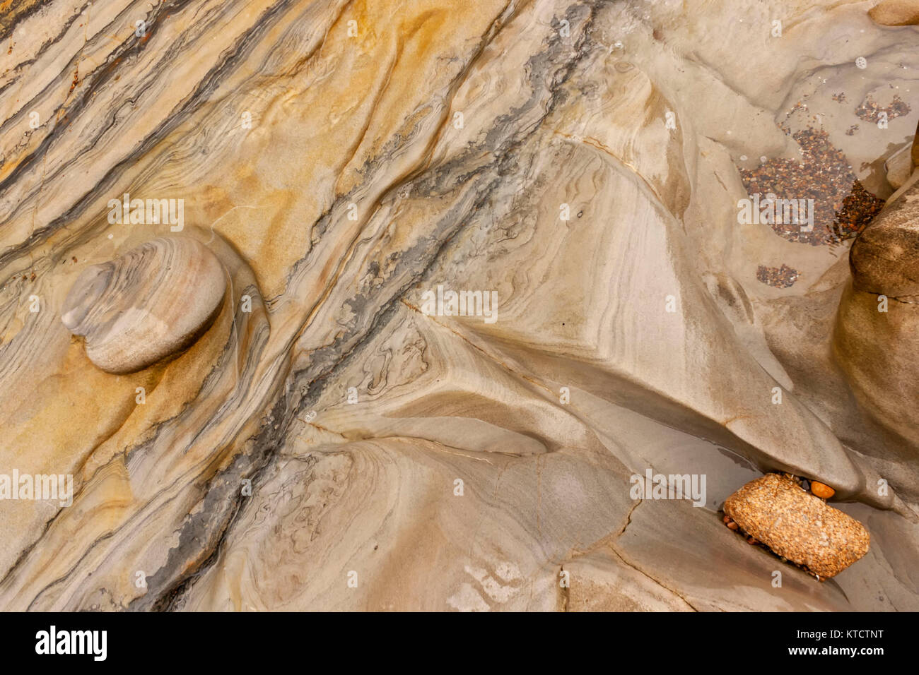 Abstract patterns in rock formations Point Lobos headland on the Central Coast in Monterey County, big Sur, California, Stock Photo