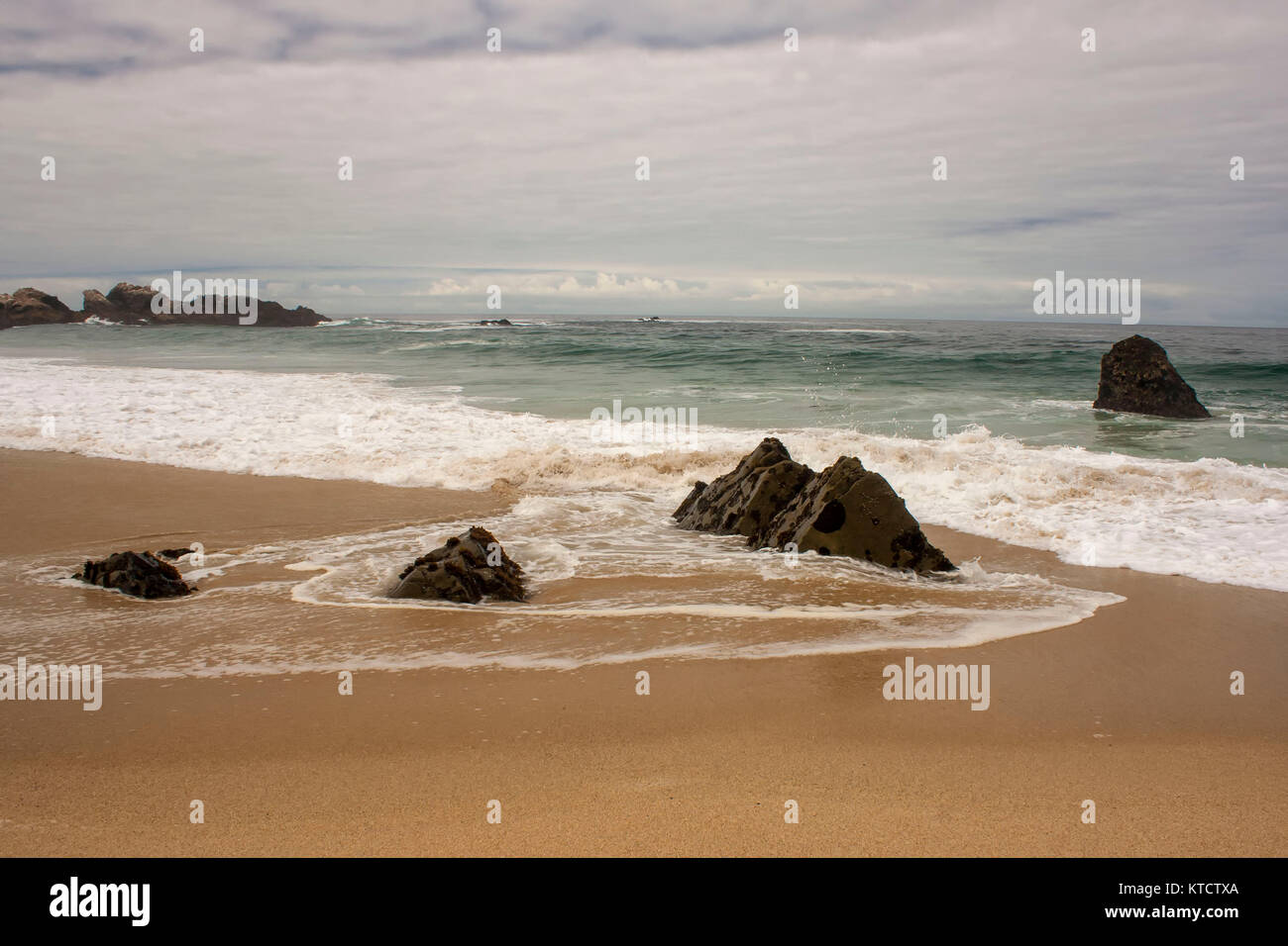 Rocks and surf on Garrapata State Park beach, California, USA - Stock Image