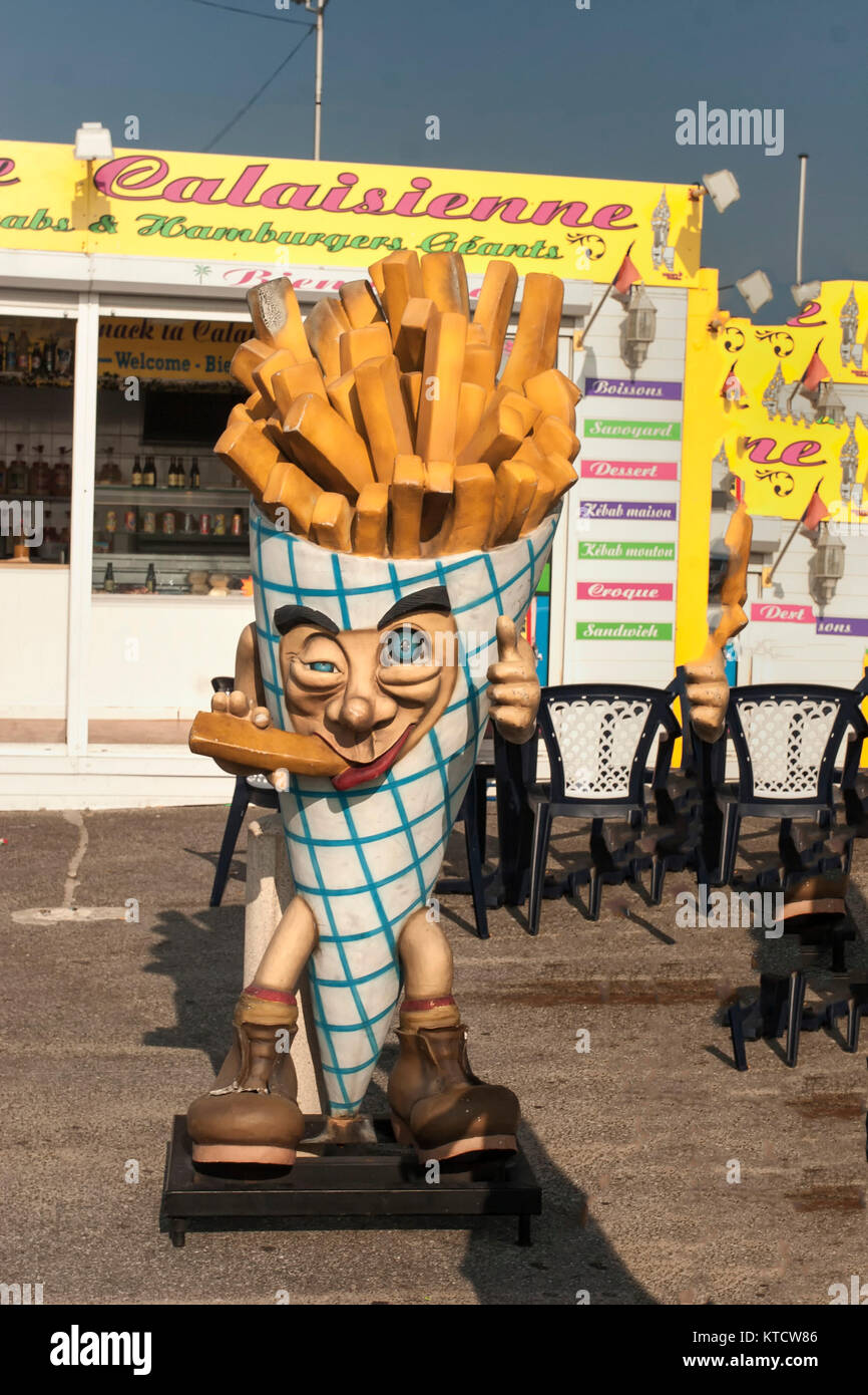 Potato chip mascot, Calais, France - Stock Image