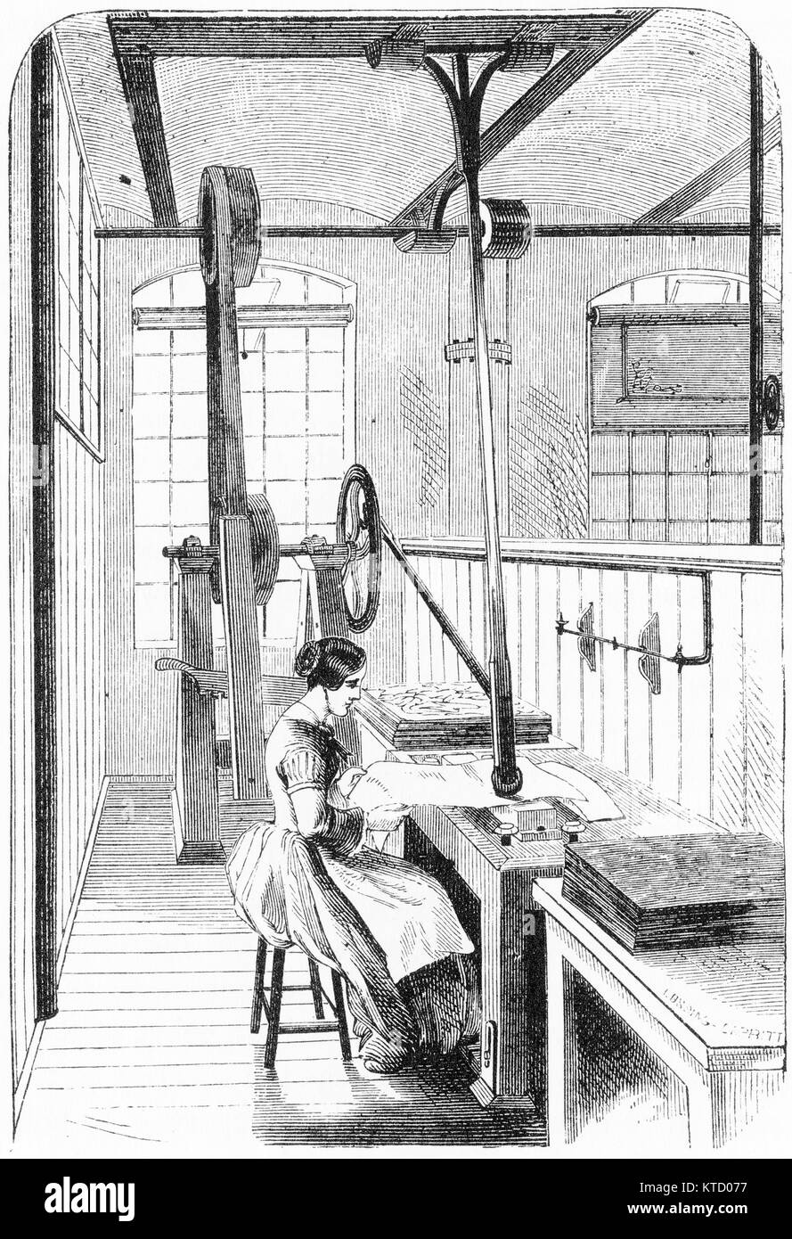 Engraving of a woman burnishing sheets of paper at a printing company in New York. From The Harper Establishment, - Stock Image