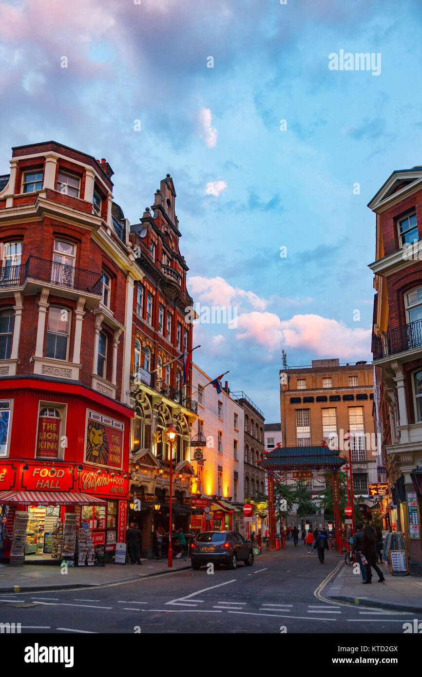 LONDON, UK - JUNE 17, 2013: Macclesfield Street Chinatown area in Soho, City of Westminster Stock Photo