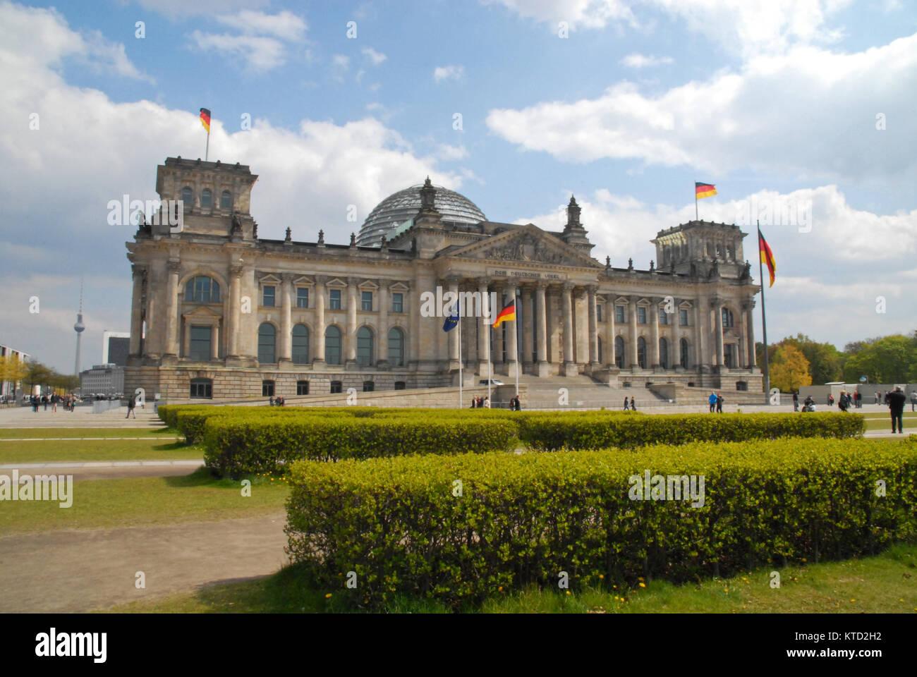 Berlin, Germany - May 1, 2017: German Parliament (Bundestag) in spring - Stock Image