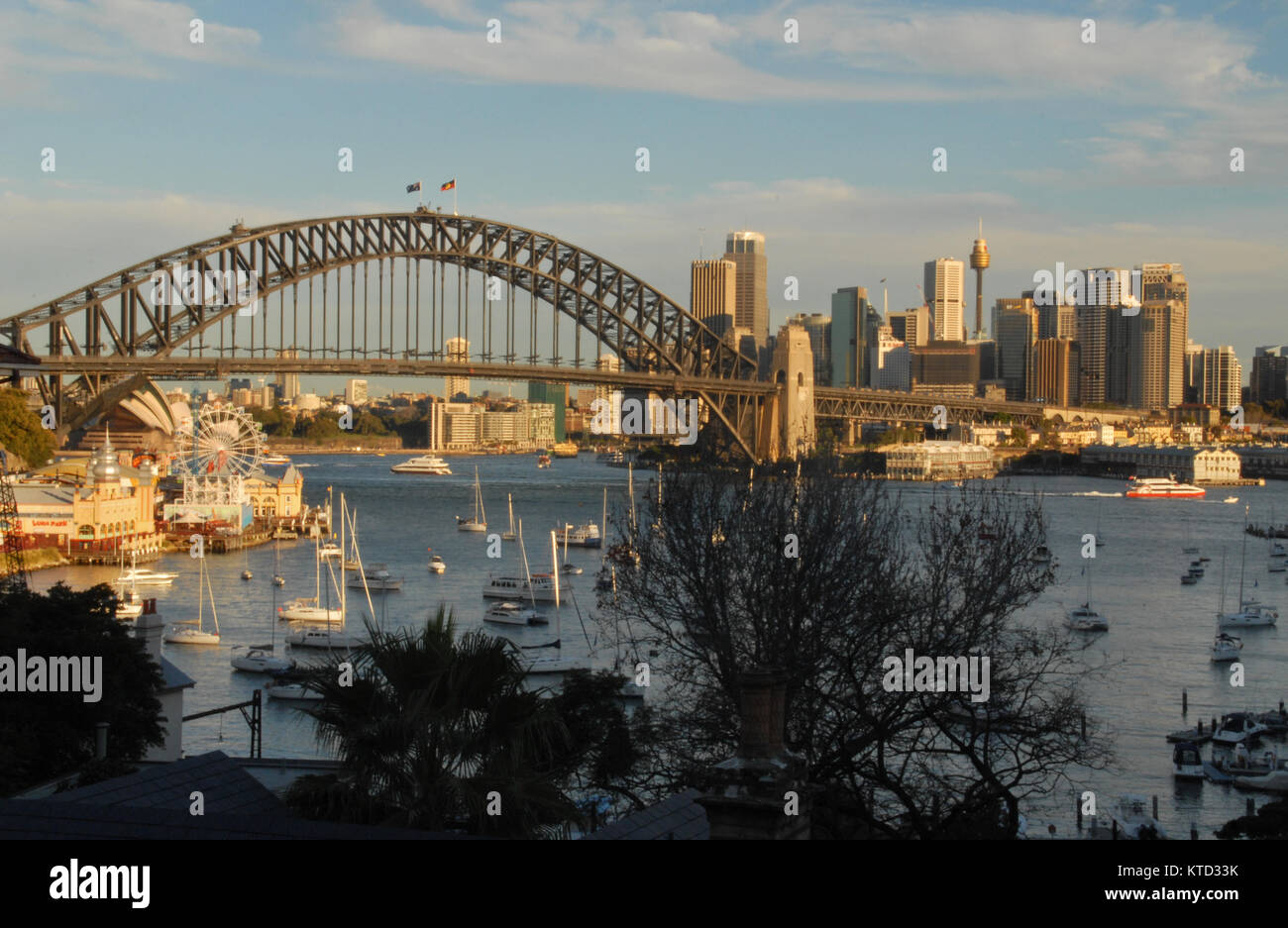 Sydney, Australia - July 4, 2016: Ships in Lavender Bay and Harbour Bridge - Stock Image