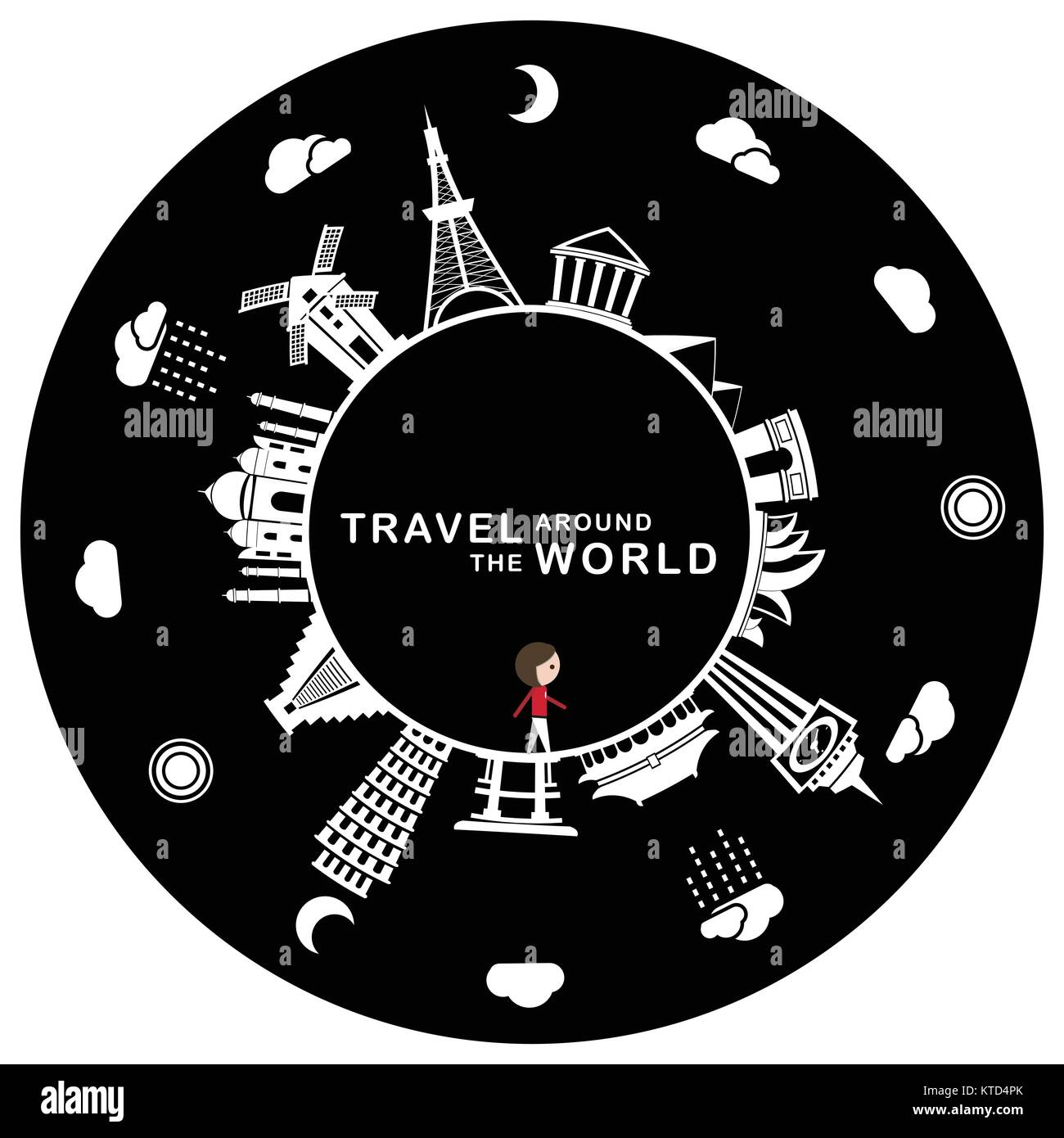 Travel around the world, including some famous landmarks. - Stock Vector