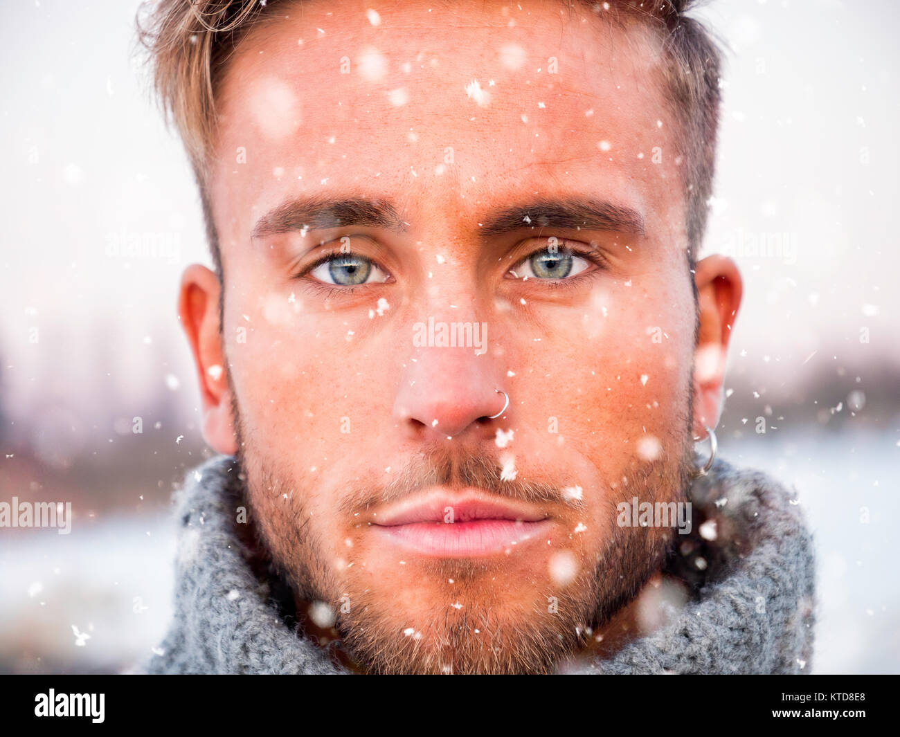 Headshot Of Handsome Young Man Outdoor In Winter Fashion