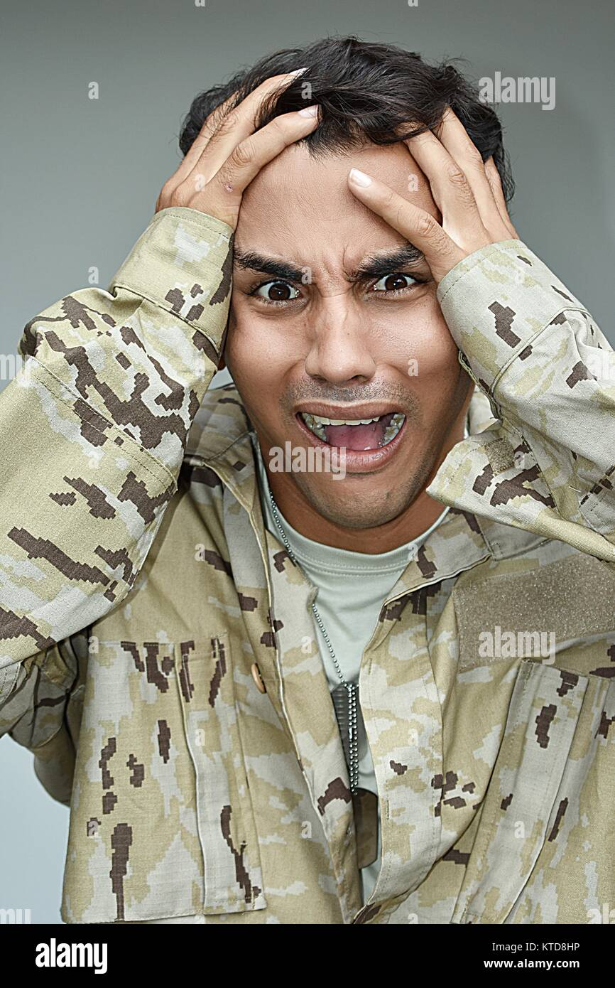 Stressful Male Soldier - Stock Image
