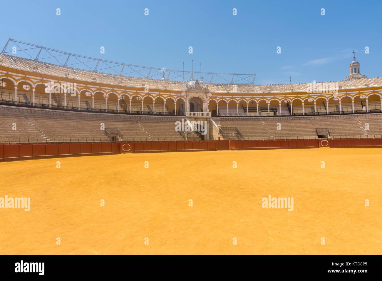 Seville,Spain-august 7,2017:inside the Plaza de toros de la Real Maestranza de Caballería de Sevilla in Spain. - Stock Image