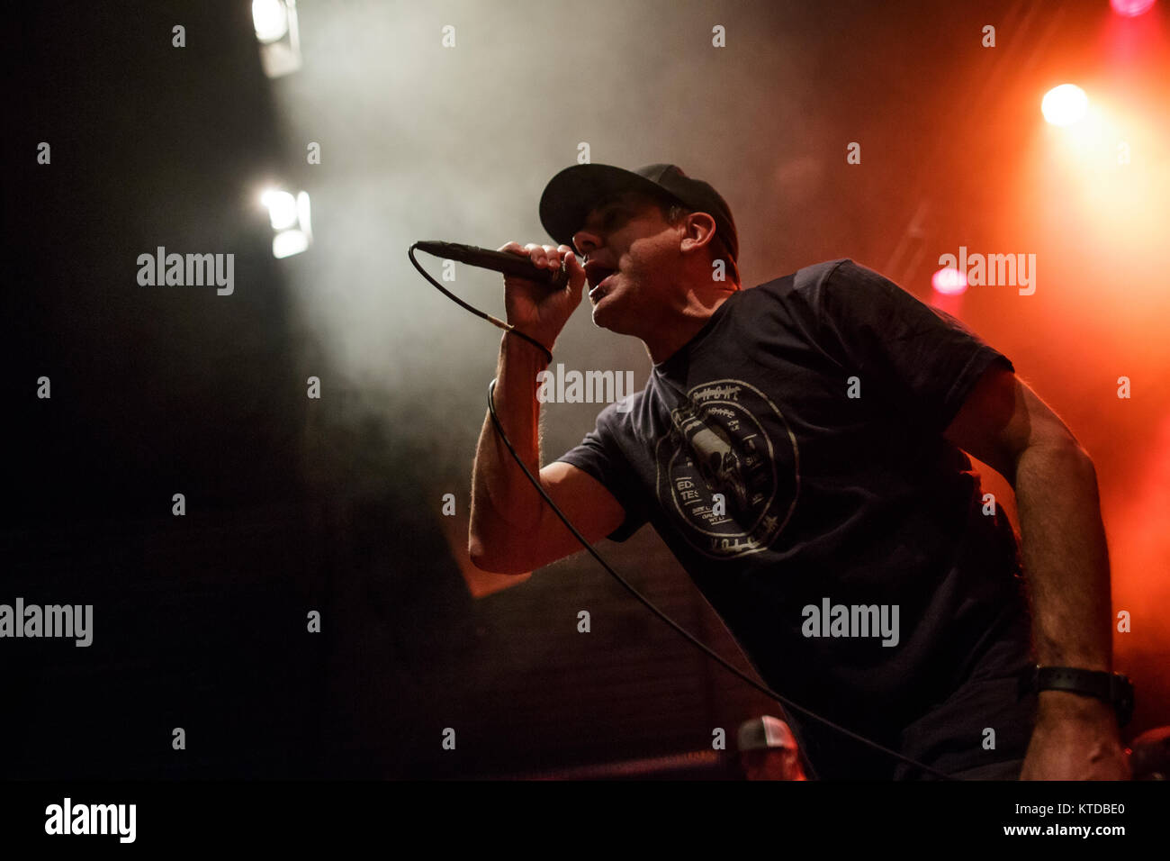 The American punk band Pennywise performs a live concert at Amager Bio in Copenhagen. Here vocalist Jim Lindberg - Stock Image