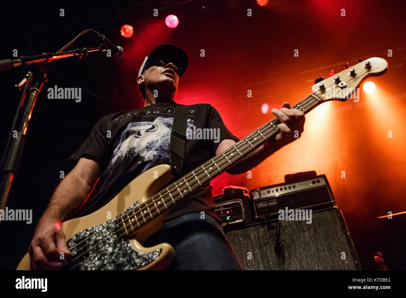 The American punk band Pennywise performs a live concert at Amager Bio in Copenhagen. Here bass player Randy Bradbury - Stock Image