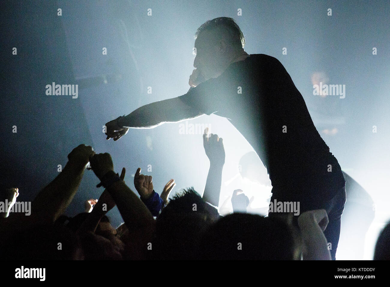 The American mathcore band The Dillinger Escape Plan performs a live concert at Pumpehuset in Copenhagen. Here vocalist - Stock Image
