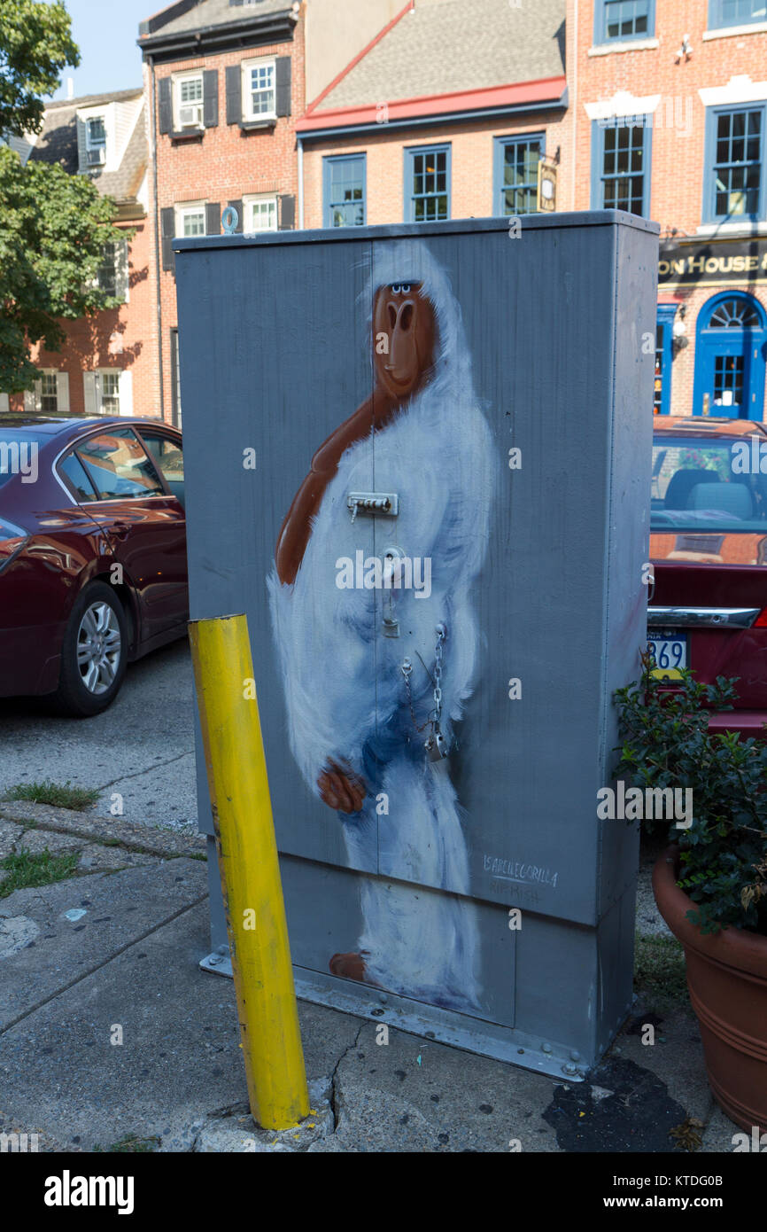 Street art painting on an electrical box in Society Hill, Philadelphia, Pennsylvania, United States. Stock Photo