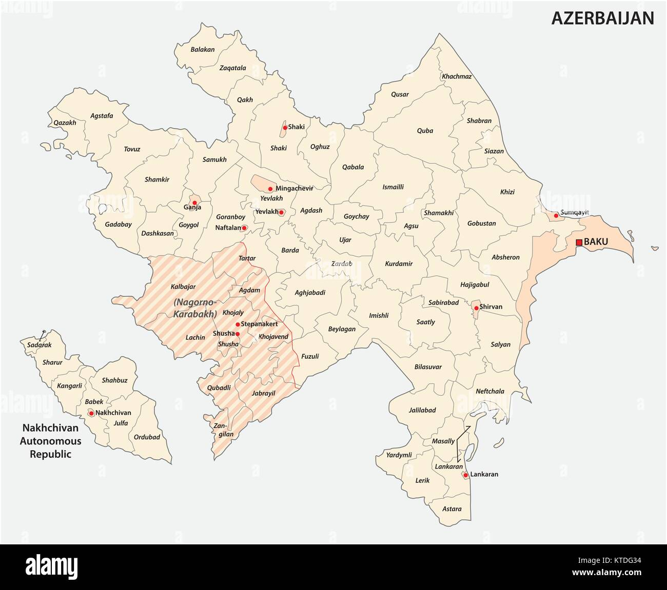 azerbaijan administrative and political vector map - Stock Vector