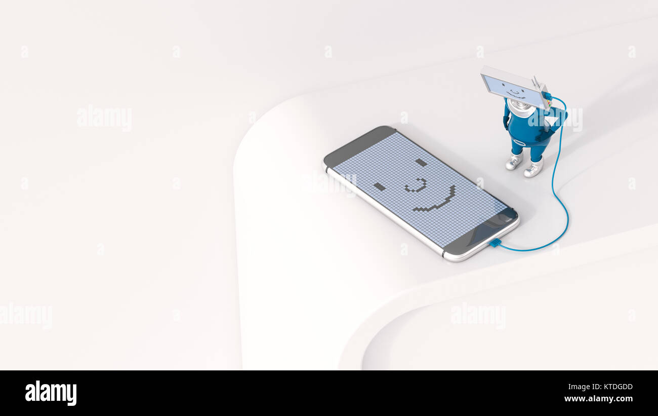 3D Illustration, Figurine loading smartphone - Stock Image