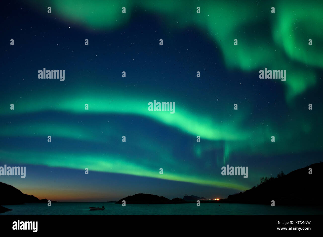 Aurora Borealis, Northern Lights, over Laukvik, Lenvik, Senja, Troms, Norway - Stock Image